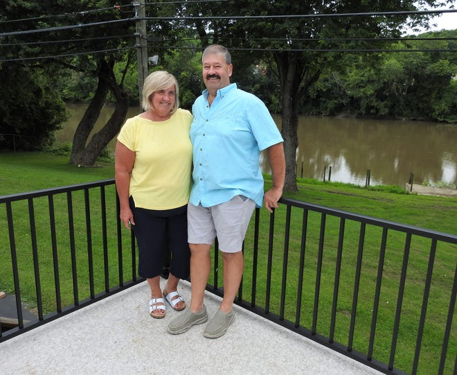 Sharon and David Tatro on the back deck of the new Boathouse Tavern, 51 Pine St. The restaurant with have a menu of American food with a few twists. Along with the main dining area, there will be patio seating, an outdoor stage for music and downstairs event center.