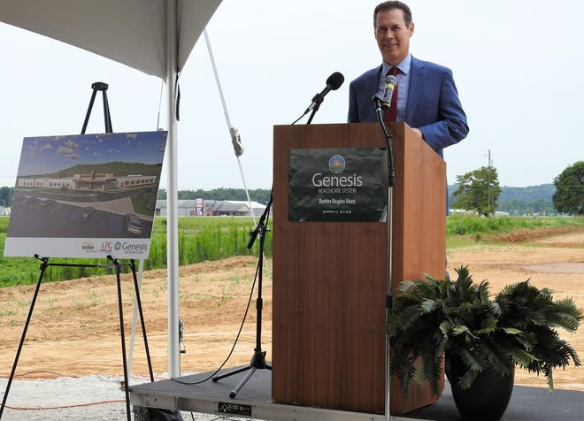 Matthew Perry, Genesis President and CEO, speaks at a groundbreaking for the new Genesis Coshocton Medical Center on U.S. 36. It's to be completed in about 18 months and open in early 2023.