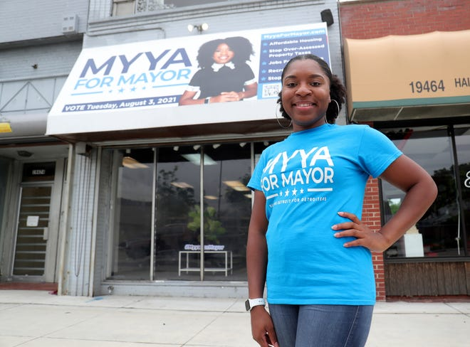 Mayoral candidate Myya Jones at her campaign headquarters in Detroit on July 12, 2021.