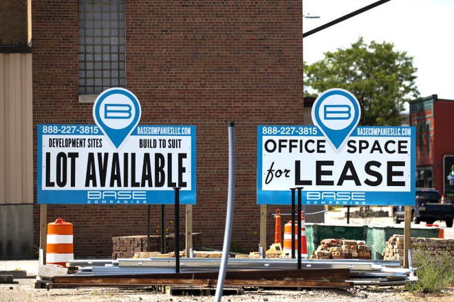 """The Rail Yard Innovation District, """"Lot Available"""" and """"For Lease"""" signs, Wednesday, July 21, 2021, Green Bay, Wis. Samantha Madar/USA TODAY NETWORK-Wisconsin"""