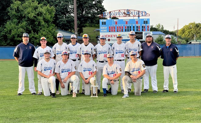 The Lancaster Post 11 baseball team had to rally and win three consecutive games to win the 8th District Tournament, and by doing so, qualified for next week's Ohio American Legion State Tournament, which will be held at Beavers Post 11 defeated Meigs, 9-4, Thursday night. Members of the team, front row, left to right: Nathan Hoffman, Noah Stadwick, Gavin Rowland, Brody Poston and Ethan Hyme. Second row, L-R: assistant coach Pat Hyme, Ajay Locke, Sammy Amnah, Samuel Sethna, Chase Springer, Dylan Winkler, Blaine Hannan, Lane Goetz, assistant coach Matt Slykerman and head coach Dana Rowland.