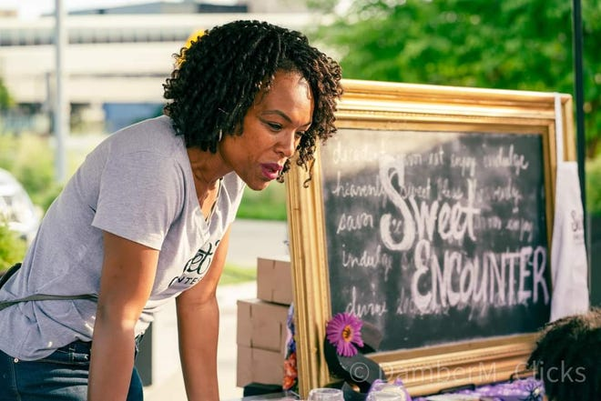 Sweet Encounter Kids Culinary Academy and Bakery owner Nikki Thompson Frazier at a recent event in Lansing. The business will open a brick-and-mortar location in downtown Lansing this year.