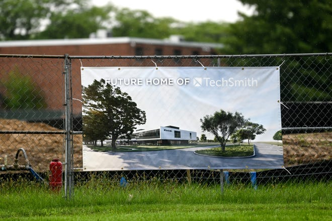 A sign at the construction site of TechSmith on Friday, July 23, 2021, near Spartan Village on the MSU campus in East Lansing.