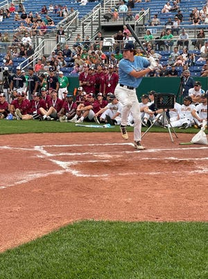 Carson Benge of the Enid Majors gets ready to swing at a pitch in Thursday's home run derby at the Connie Mack World Series.