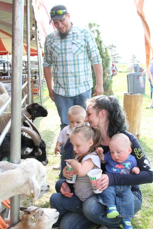 Nate Forsythe and Sarah Mullholand of Oak Harbor and their children Isley, Isiah, and Isacc make new friends with the goats and sheep at the Ottawa County Fair on Thursday. The 57th annual fair winds up Sunday.