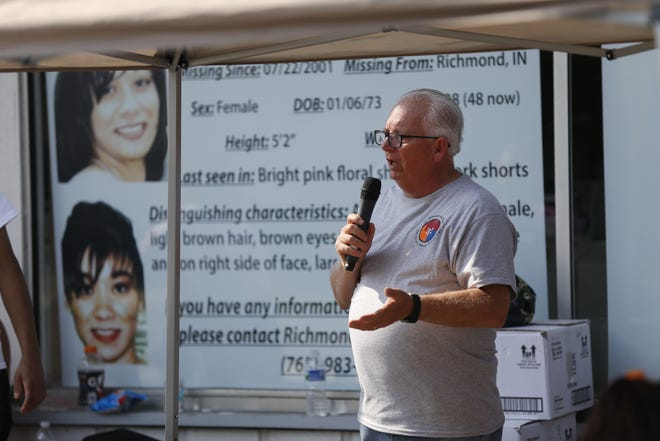 Tony Talbert of Tri-County Good Samaritans speaks Thursday, July 22, 2021, during an event to mark 20 years since Niqui McCown's disappearance.