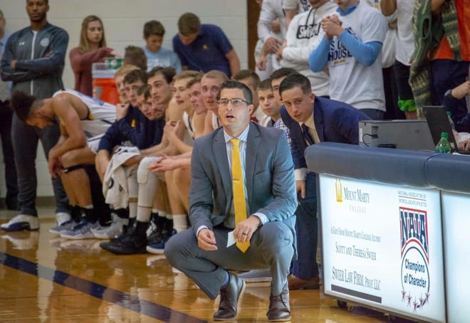 Cody Schilling, seen here coaching Mount Marty, is Augustana's new assistant