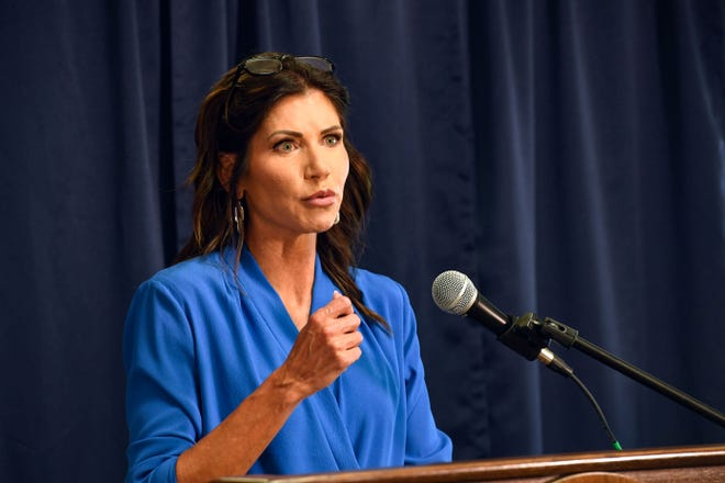Governor Kristi Noem speaks at a press conference on Friday, July 23, 2021 at the South Dakota State Penitentiary in Sioux Falls.