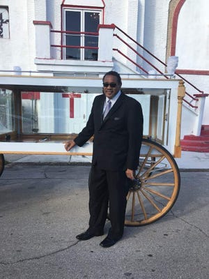 Fort Pierce City Commissioner Rufus Alexander in front of Greater New Bethel Baptist Church at 305 N. 8th St.