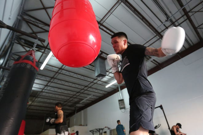 El Paso boxer Jorge Tovar works out at Champ Camp Training Facility Wednesday, July 21, 2021, in El Paso. Jorge is making his pro debut July 31 at the Inn of the Mountain Gods Casino in Mescalero, New Mexico.