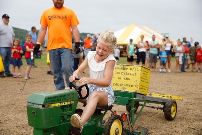 Lots of kids got to ride mini-tractors at 2021 Farm Technology Days in Eau Claire, Wis.