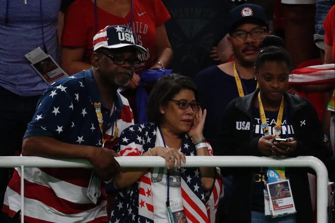 Ron and Nellie Biles watch Simone and the rest of the U.S. women's team compete at the 2016 Rio Games.