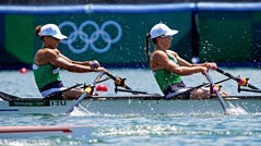 Tokyo, Japan; Donata Karaliene (LTU) and Milda Valciukaite (LTU) compete in the Womens Double Sculls Heats on Jul 23, 2021, during the Tokyo 2020 Olympic Summer Games at Sea Forest Waterway in Tokyo, Japan.