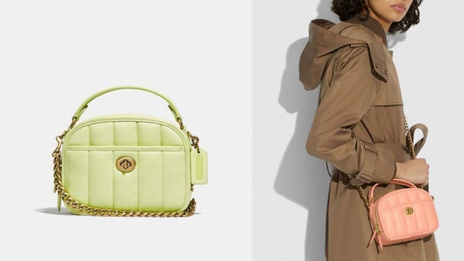 This Coach purse comes in blush or lime.