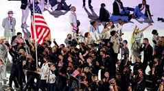 The United States walks out during the opening ceremony for the Tokyo 2020 Olympic Summer Games.