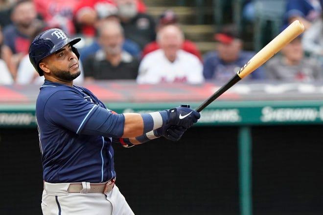 Tampa Bay Rays designated hitter Nelson Cruz watches his solo home run in the third inning of a 10-5 win over Cleveland on Friday night at Progressive Field. [Tony Dejak/Associated Press]