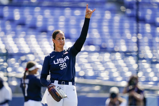United States pitcher Cat Osterman reacts after a strikeout during the team's 2-0 win over Mexico Saturday at the 2020 Summer Olympics in Yokohama, Japan. Osterman allowed one hit as the U.S. went to 3-0 in the tournament.