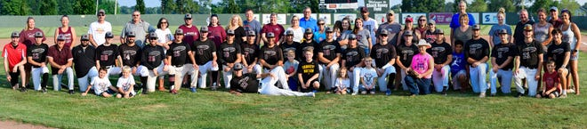 Members of the 2021 Chillicothe (Mo.) Mudcats college-level baseball team and their host families were recognized before Friday, July 23's regular-season finale.