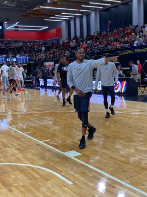 Former Ohio State and Bowling Green guard Ron Lewis warms up before playing for Mid-American Unity in The Basketball Tournament at the Covelli Center on July 23, 2021.