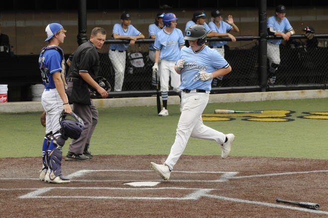 Onsted's Broc Shoemaker touches home for a run during a game for the Adrian Dirtbags in the 2021 season against the Toledo Thunder on Friday.