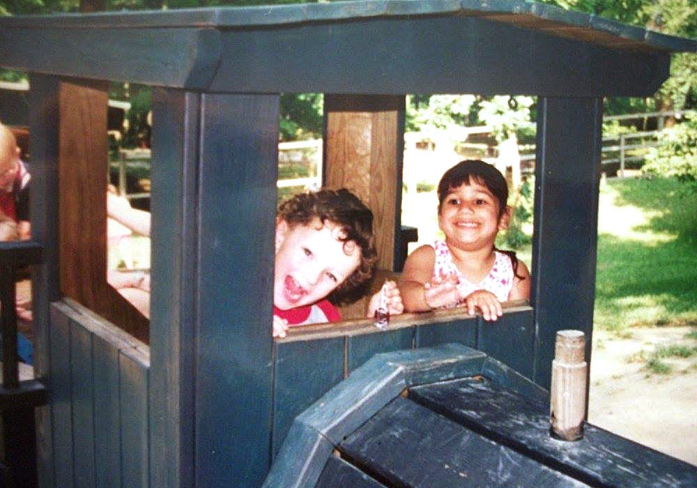Ethan Walker, left, of Hookstown, Beaver County, and Theresa Raydo, at right, of Millcreek, eNjoy the Story Book Forest at Idlewild & SoakZone amusement park near Ligonier, Westmoreland County, in 1999. Both were adopted from Russia by western Pennsylvania families, and remained friends. Ethan and Theresa married on Jan. 9.