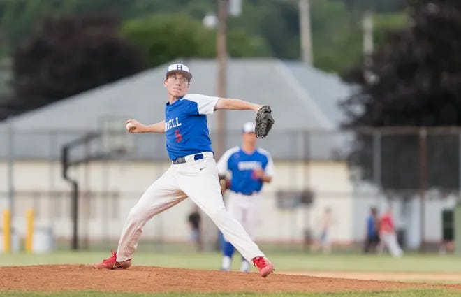 Hornell's Collin Burdett fires a strike from a familiar mound in a Dodgers game this summer at Maple City Park.