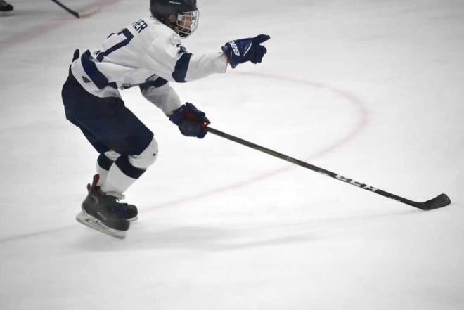 The Bloomington Blades' Eli Prather points to a teammate during a game last season. Prather is headed to Lake Tahoe to play in the USPHL this fall.