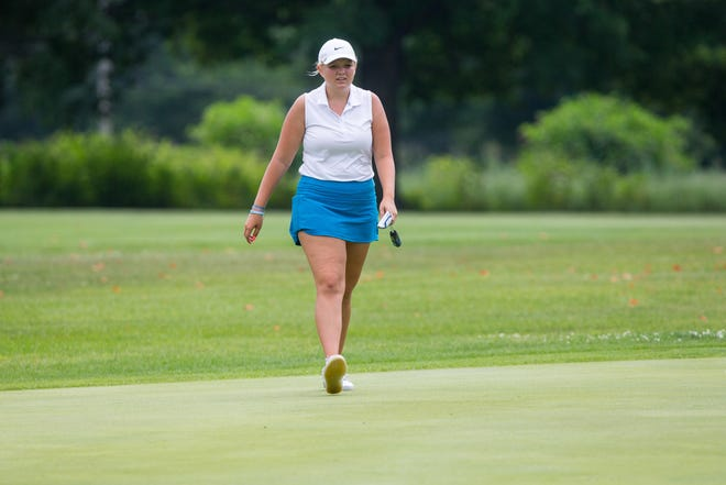 Ella Greenberg prepares to putt on the first green during the first round of play at Ingersoll Golf Course Saturday, July 24, 2021, in Rockford.