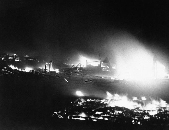 The camp of U.S. veterans camp in Washington D.C. burns after the evacuation of the bonus seekers on July 28, 1932. Later the scene was one of destruction.