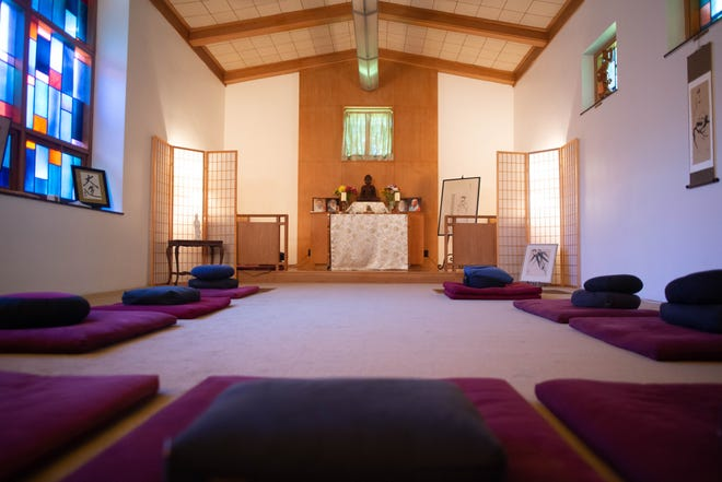 Soft cushions are arranged in a semi-circle at the Prairyerth Zen Center, 1701 S.W. Collins Ave. The center offers a monthly meditation, as well as Zen services led by Rebecca Otts.