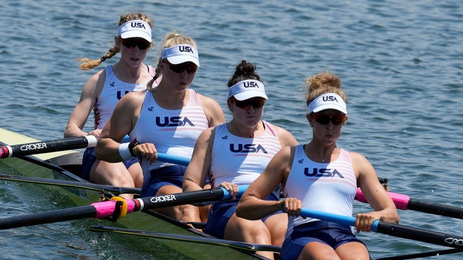 Madeleine Wanamaker, from left, of Neenah and teammates Claire Collins, Kendall Chase and Grace Luczak of the United States compete in the women's four at the 2020 Summer Olympics in Tokyo, Japan.