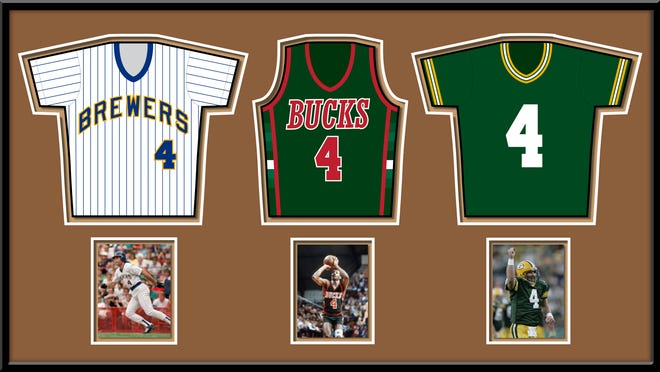 From left to right: Brewers legend Paul Molitor, Bucks legend Sidney Moncrief and Packers legend Brett Favre. Each wore the No. 4, which is the only number that has been retired by Wisconsin's three major professional sports franchises. Who wore it best? We'll let you make the call.
