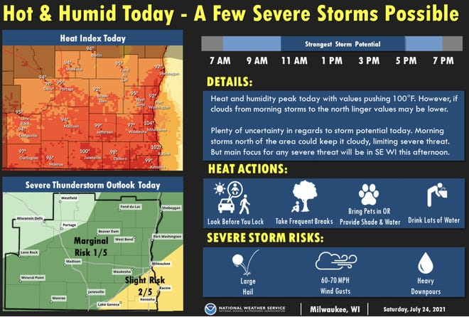 The National Weather Service predicts storms on Saturday, July 24.
