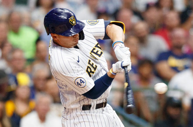 Brewers outfielder Tyrone Taylor  hits a grand slam during the seventh inning Friday night at American Family Field.