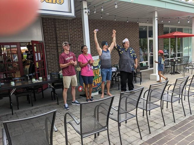 """Ice cream contest winners; adult division left to right, J.P. Escallier (2nd), A """"Monica"""" Walker (3rd), Sean Ruane (1st),Gregory Cohen (Owner Lofty Pursuits)."""