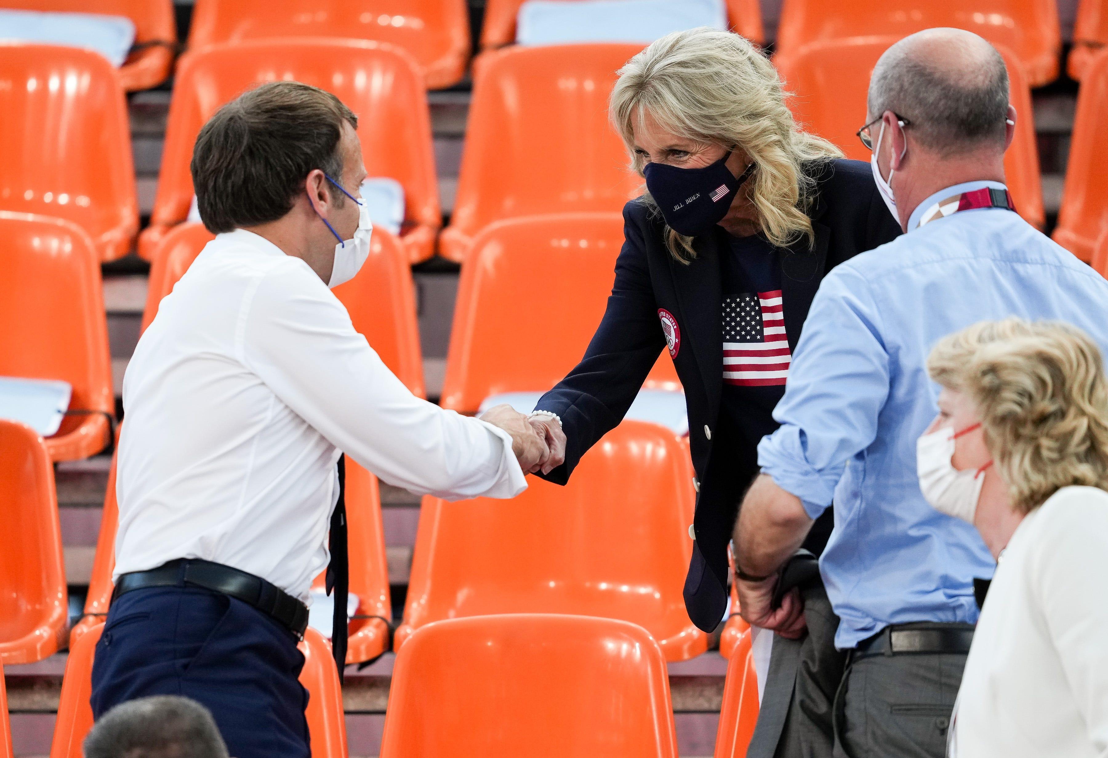 Jill Biden cheers on US women's basketball team alongside French president Emmanuel Macron