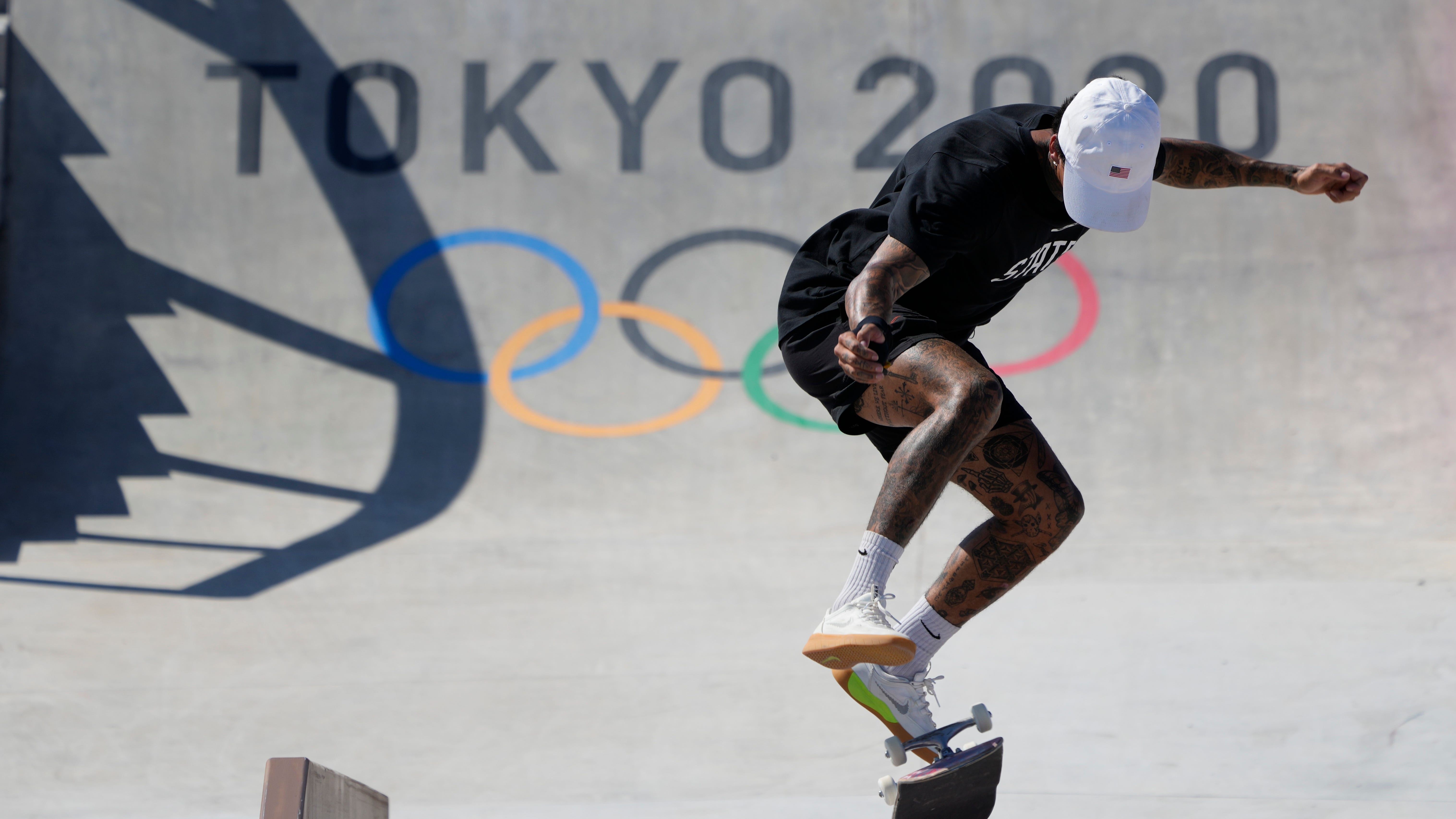 Nyjah Huston, of the United States, trains during a street skateboarding practice session at the 2020 Summer Olympics, Wednesday, July 21, 2021, in Tokyo, Japan.