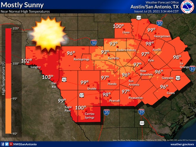 Austin will see sunny skies and a high near 98 degrees on Sunday. Temperatures throughout the work week will reach the upper 90s.