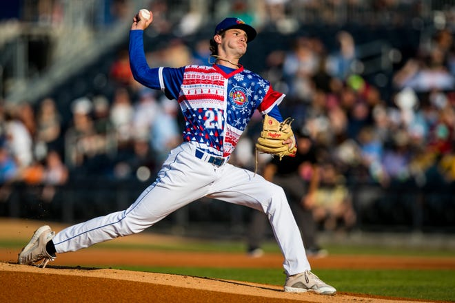 Amarillo Sod Poodles pitcher Ryne Nelson (21) pitches against the Frisco RoughRiders on Saturday, July 24, 2021, at HODGETOWN in Amarillo, Texas. [Photo by John Moore/Amarillo Sod Poodles]