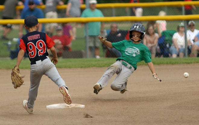 Sebring American Legion's Carlin Jones, right, steals second base as the throw from home gets by Avon Wild Thing's Austin Hubert during their HH Hot Stove semifinal game at Butler-Rodman Park on Saturday, July 24, 2021.