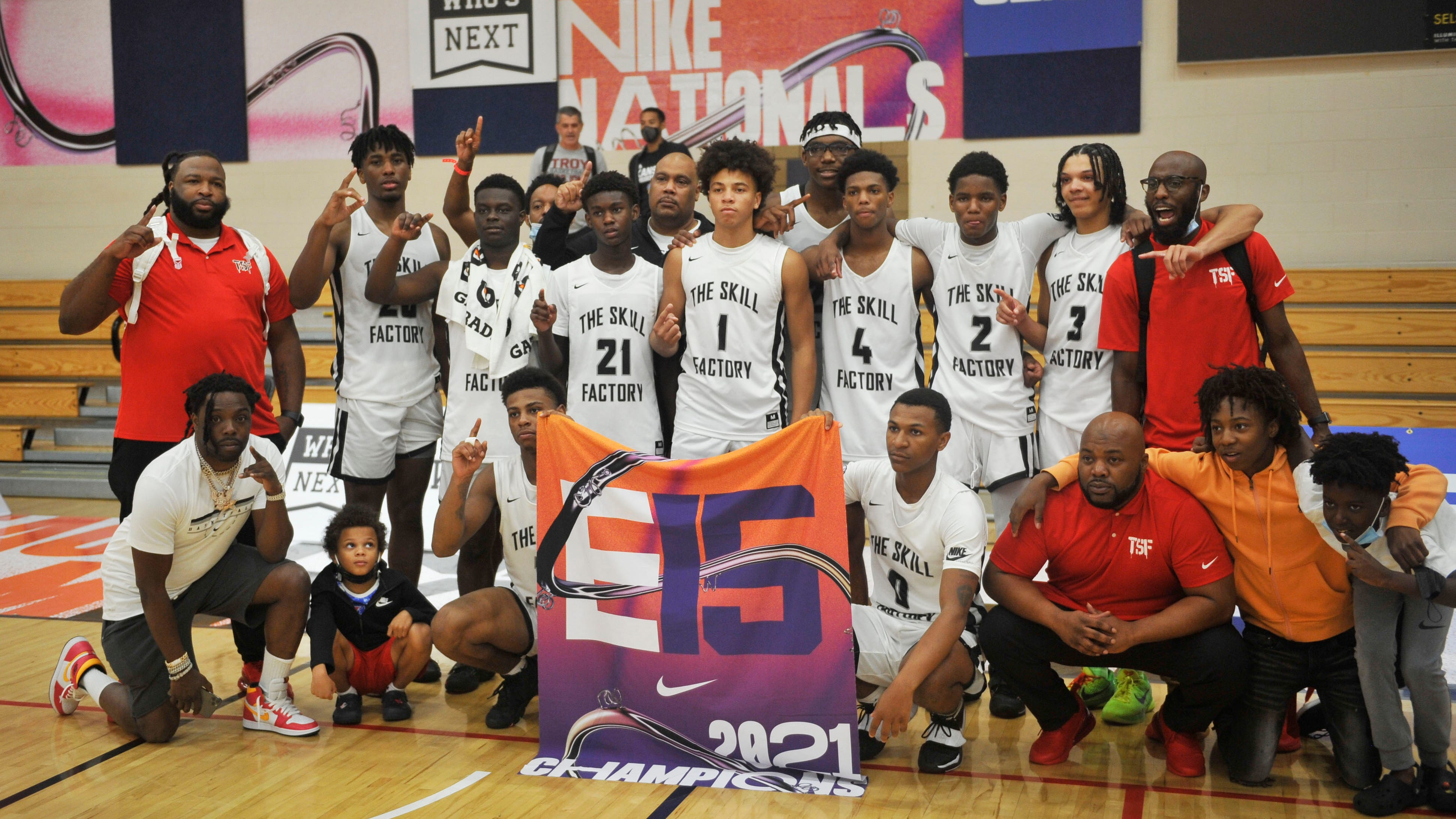 The Skill Factory poses after defeating Team United 66-60 in the E15 EYBL Championship on Sunday, July 24, 2021 at the Riverview Park Activities Center in North Augusta, S.C. [WYNSTON WILCOX/THE AUGUSTA CHRONICLE]