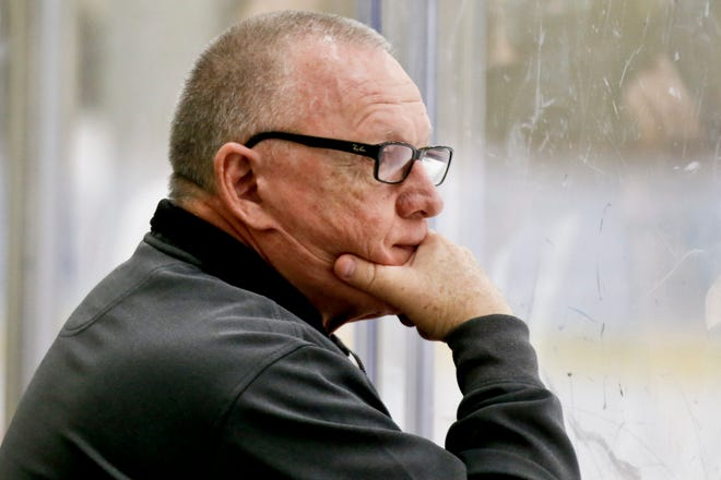In this May 28, 2016, file photo, former Pittsburgh Penguins general manager Jim Rutherford watches the team during NHL hockey practice at the UPMC Lemieux Sports Complex in Cranberry Township. Saturday was the first NHL draft since his resignation last year. (AP Photo/Keith Srakocic, File)