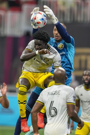 Columbus Crew goalkeeper Eloy Room lowered his goals-against average to 0.77 by blanking Atlanta United Saturday. He is now the second-ranked player in that category.