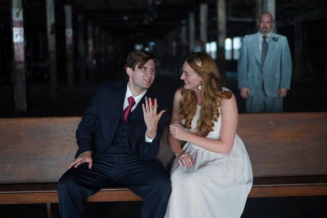 """From left: Jackson Mullins as Orpheus, Emily Grim as Eurydice, and Matthew Michael Moore as Father in the Actors' Theatre of Columbus production of """"Eurydice."""""""