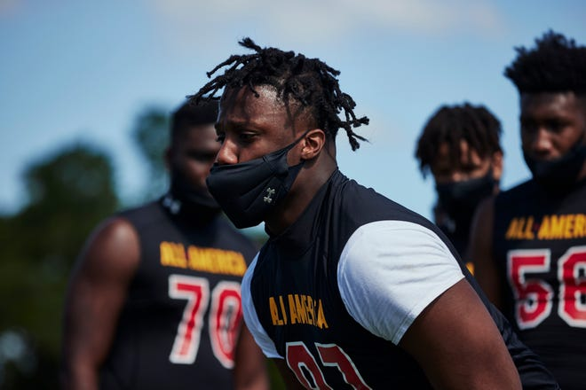 Four-star defensive end Derrick LeBlanc, a 2023 recruit from Kissimmee (Fla.) Osceola, competed in the Miami Under Armour All-America Camp on March 2, 2021.