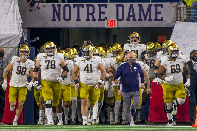 Notre Dame takes the field for the 2021 College Football Playoff Rose Bowl game on Jan. 1, 2021, inside AT&T Stadium in Arlington, Texas. The Irish kickoff the 2021 season Labor Day weekend at Florida State.