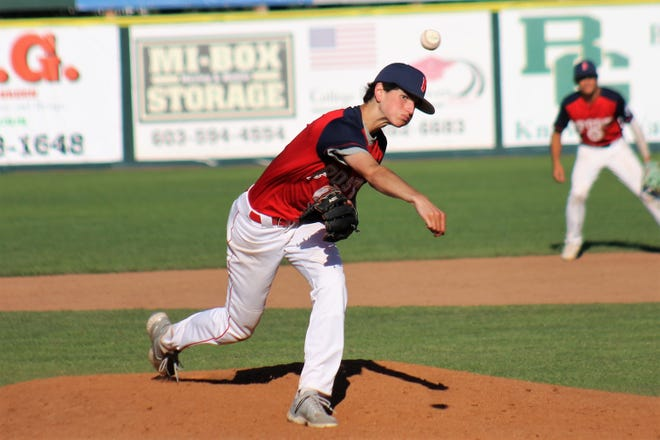 Damon Chase of Booma Post 6 delivers a pitch during Saturday's Sr. Legion state tournament game at Nashua's Holman Stadium