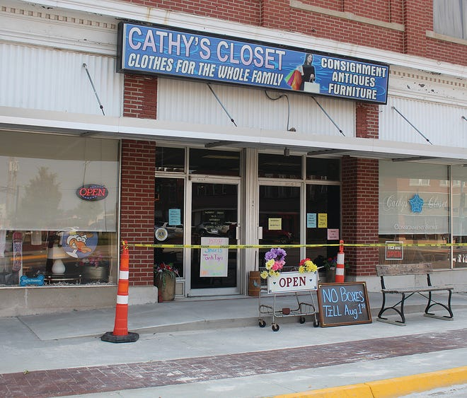 The Pratt County Economic Development Board and Independent Organization of Odd Fellows (IOOF) joined forces to pay for a new handicapped accessible ramp in front of Cathy's Closet thrift store installed last week downtown Pratt.