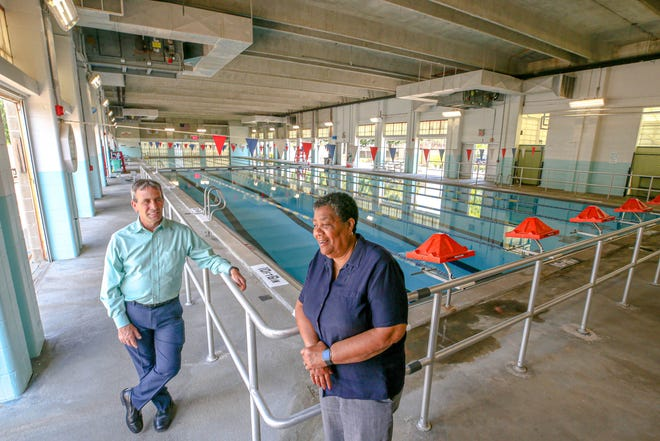 Warwick Mayor Frank Picozzi with Beverly J. Wiley, parks and recreation director, at McDermott Pool, which is set to reopen on Monday.