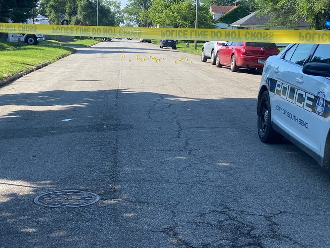 Police block off a street where a shooting that took place early Sunday left a 19-year-old South Bend man dead. The shooting took place in the 700 block of North Brookfield Street.
